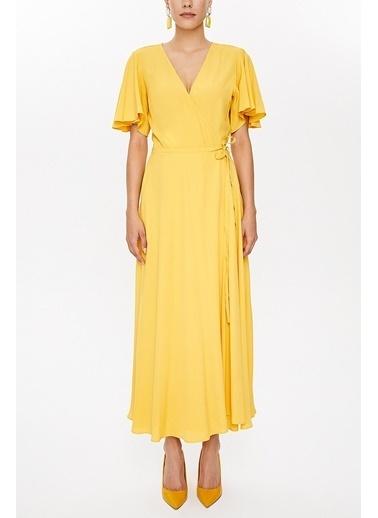 Societa V yaka anvelop uzun elbise 93207 Sarı